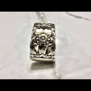 Sterling Silver Plate Spoon Ring Floral Vintage